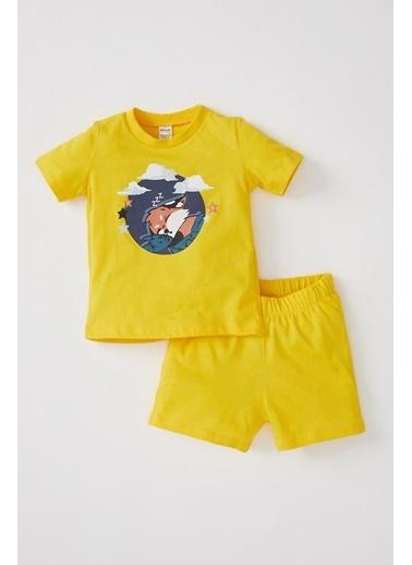 DeFacto Erkek Bebek Kısa Kol Baskılı Pijama Takımı Sarı